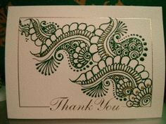 Personalized greeting card with hand-painted henna designs. Thank you card with henna patterns available in any colors! Thanksgiving card