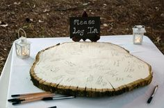 Guest Book Alternative Idea. Make it big enough so that you can make it into a coffee table for your first house! rustic wedding