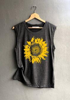 Flower muscle tee - sunflower Shirt - muscle tee of Summer Shirt - Muscle Tank Top Womens