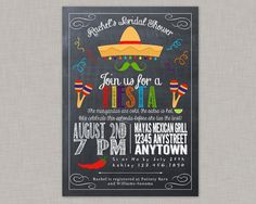 DIY Printable Chalkboard Fiesta, Cinco de Mayo Bridal Shower Invitation