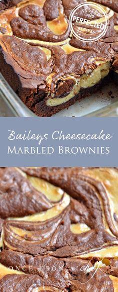 Baileys Cheesecake-Marbled Brownies #brownies #testedandperfected #cheesecake