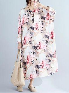 J/&W Womens Breathable Cotton Linen Loose Dress Soft Large Plus Size Clothing 111