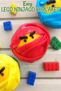 Find the Ninja within Ya and make these easy LEGO NINJAGO movie themed cupcakes! Make them from scratch or go semi-homemade- they& love them! Cupcakes Ninja, Ninjago Cupcakes, Movie Cupcakes, Lego Ninjago Cake, Ninjago Party, Cupcakes For Boys, Lego Ninjago Movie, Themed Cupcakes, Cupcake Party
