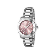 Ladies' Gucci Dive Watch ($990) ❤ liked on Polyvore featuring jewelry, watches, pink quartz jewelry, pink jewelry, bezel watches, quartz jewelry and quartz wrist watch