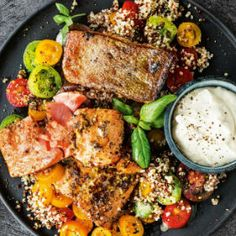 Seared rainbow trout with tomato, lemon & quinoa Rainbow Trout Recipes, Shellfish Recipes, Sliced Tomato, Cooking Instructions, Food Menu, Serving Dishes, Food Design