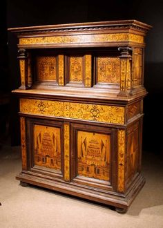 Exceptional Baroque Marquetry Court Cupboard. German, Circa 1600 image 2