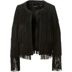 The Perfext Black Suede Fringed Jacket ($895) ❤ liked on Polyvore featuring outerwear, jackets, suede fringe jacket and long sleeve jacket