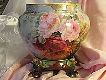 Truly Magnificent Antique LIMOGES FRANCE JARDINIERE Victorian Hand Painted French Tea Roses ~ Museum Quality with Separate PEDESTAL Paw FOOTED BASE Artist Signed 1899 ~  D France