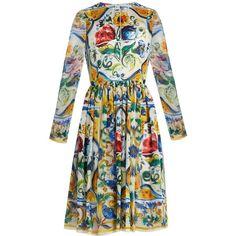 Dolce & Gabbana Majolica-print long-sleeved silk-chiffon dress (€1.270) found on Polyvore featuring women's fashion, dresses, white multi, long sleeve fit and flare dress, fit and flare dress, long sleeve summer dresses, fit and flare summer dress and white summer dress