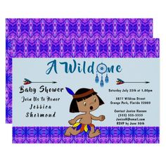 A Wild One Baby Shower Tribal Arrows Abstract Blue Card #wildone #babyshower #tribal #card #invitation #tribalcard #showercard #Zazzle