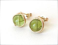 Green Peridot Stud Earrings August Birthstone Gold by WrennJewelry