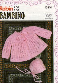 Babies Matinee Coat & Bonnet Knitting Pattern PDF Baby Girls or Boys 20 inch chest, Babys Jacket, Vintage Knitting Patterns for Baby Pattern Baby, Baby Sweater Patterns, Baby Cardigan Knitting Pattern, Coat Patterns, Baby Knitting Patterns, Baby Patterns, Free Knitting, Knitting Wool, Crochet Cardigan