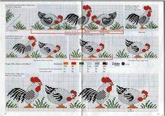 galinhas em ponto cruz-graficos - Pesquisa Google