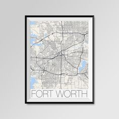 Fort Worth Map Print - Minimalist City Map Art of Fort Worth Poster - Wall Art Gift - COLORS - white, blue, red, yellow, violet Fort Worth map, Fort Worth print, Fort Worth poster, Fort Worth map art, Fort Worth gift  More styles - Fort Worth - maps on the link below https://www.etsy.com/shop/PFposters?search_query=Fort+Worth