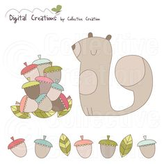 Look what I found - Squirrel and Acorns Digital Clipart Set | CollectiveCreation via Etsy