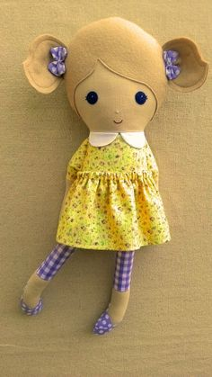 Fabric Doll Rag Doll Blond Haired Girl in Pale by rovingovine, $37.00