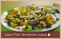 VIDEO RECIPE...PIN NOW, watch later! Featuring Honey #Teriyaki Sauce, fresh #greens and savory grilled #pork tenderloin.  www.TastefullySimple.com/web/kdenne