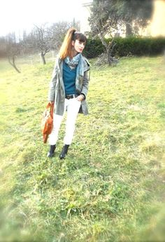 ORANGE AND GREEN SHADES  , P.L.E.A.S.E in Jackets, no brand in Pants, Imperial in Sweaters, Tintamar in Bags, Calzaturificio Les Femmes in Boots,  in Jewelry