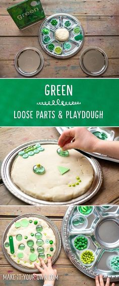 Using Loose Parts and Playdough to explore Green written by Laura Vaccaro Seegar Play Based Learning, Learning Through Play, Early Learning, Playdough Activities, Preschool Activities, Work Activities, Preschool Learning, Infant Activities, Early Childhood