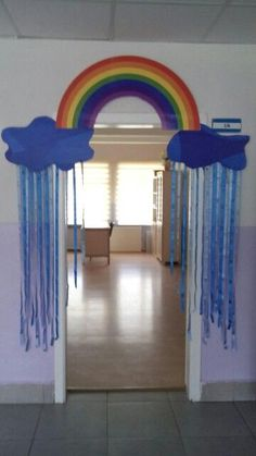 New Ideas For Decor Classroom Walls Playrooms Classroom Wall Decor, Classroom Window, Diy Classroom Decorations, Rainbow Decorations, Classroom Walls, School Decorations, Playroom, Toddler Classroom, Kindergarten Classroom