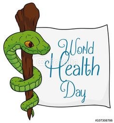 Asclepius Symbol with a Paper for World Health Day