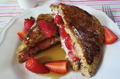 Stuffed Strawberry French Toast - Quick, easy. low calorie and loaded with strawberries and cheese!
