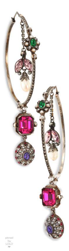 "Alexander McQueen Creole Crystal Hoop Earrings/2.5"""