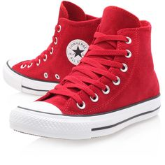 Converse Ct Suede Hi Red (660 ARS) ❤ liked on Polyvore featuring shoes, sneakers, converse, sapatos, red, red high top shoes, lace up sneakers, red suede shoes, flat shoes and high top sneakers