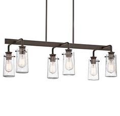 """View the Kichler 43059 Braelyn 6 Light 34"""" Wide Chandelier with Seedy Glass Shades at LightingDirect.com."""