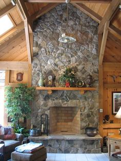 Love big stone fireplaces