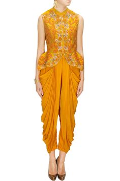 Mustard floral embroidered peplum jacket and dhoti pants available only at Pernia's Pop-Up Shop.