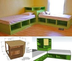 Space-saving corner unit for the twin storage bed #diy #furniture