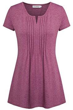 Lem&Hao plus size tops for women notch neck casual knit tunics summer tees green Short Sleeve Tunic Tops, Short Sleeve Dresses, Short Sleeves, Mix Match Outfits, Tunics With Leggings, Sewing Shirts, Red Blouses, Curvy Fashion, Types Of Sleeves
