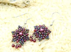 Purple handmade Seed bead earrings, dangle earrings, peyote stitch, purple, ready to ship