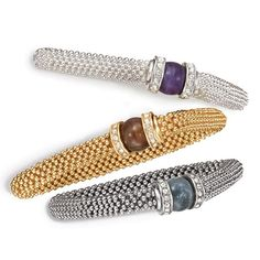 """Stretch bracelet of small plastic beads with two rhinestone embellished """"collars"""" on either side of a large bead in the center. Regularly $16.99, buy Avon Jewelry online at http://eseagren.avonrepresentative.com"""