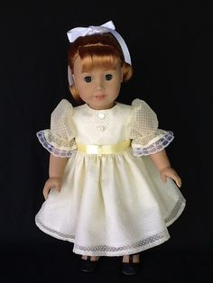 18 inch doll dress. Fits America Girl Dolls. Yellow dotted swiss.
