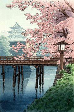 Japanese art, woodblock art prints, Temple cherry blossoms Ito Yuhan FINE ART PRINT, blooming trees