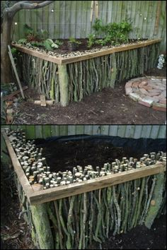 Grow your own produce by building a natural wood raised garden bed from fallen branches
