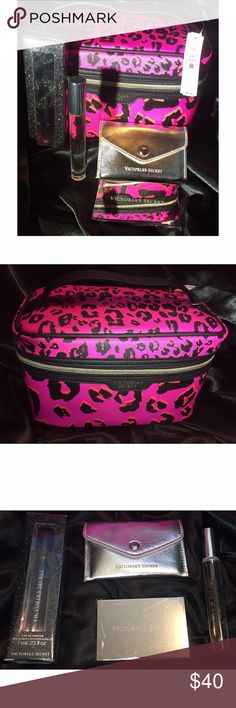 Victoria's Secret Perfume Bundle Perfect for Valentine's Day! Includes: Large Zippered Cosmetic Bag, Dark Angel Perfume Roll On, Tease Noir Perfume Roll On, & Travel Mirror with Silver Glitz Case. All Brand New! Victoria's Secret Other