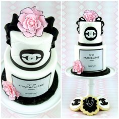 Beautiful Chanel Birthday Cake and Cookies - http://www.hannahjoyscakes.com/