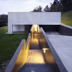 A long stairway and ramp extend from a private house in Barcelos, Portugal.