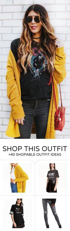 #fashion #outfits Mustard Cardigan & Black Printed Tee & Black Skinny Jeans