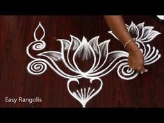 Indian Rangoli Designs, Rangoli Border Designs, Rangoli Designs With Dots, Rangoli Designs Images, Rangoli With Dots, Simple Rangoli, Lotus Rangoli, Peacock Rangoli, Rangoli Borders
