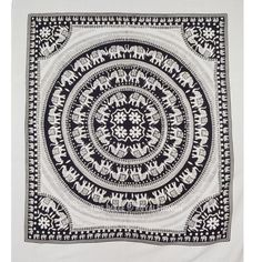 Black and White Elephant Mandala Fringed Tapestry Indian Bedding Bedspread on RoyalFurnish.com
