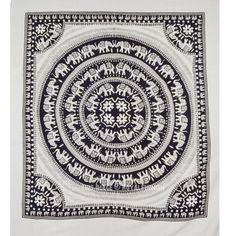 Black and White Elephant Mandala Fringed Tapestry Indian Bedding Bedspread on RoyalFurnish.com