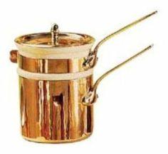 "World Cuisine 45403-14 Double Boiler w/ Lid, 1-5/8-qt, Copper, Porcelain Insert, Each by World Cuisine. $490.50. World Cuisine 45403-14 Double Boiler w/ Lid, 1-5/8-qt, Copper, Porcelain Insert. Double Boiler, 1-5/8 quart, 5-1/2"" diameter, porcelain insert, copper pot, lid, polished bronze riveted handles"