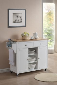 Meryland White Modern Kitchen Island Cart   Home Furniture»SHOP BY ROOM»KITCHEN   DINING ROOM»BAKERS RACKS   MOBILE ISLANDS   KITCHEN KARTS