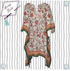 Handblock short Kaftan Summerdress 2016 by MovingDots on Etsy
