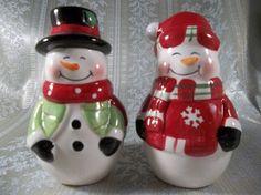Adorable Winter/Christmas Dolgencorp Snowman Salt and Pepper Shakers | jjandedt - Seasonal on ArtFire