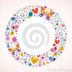 Butterflies, clouds, flowers, diamonds, raindrops cartoon circle frame